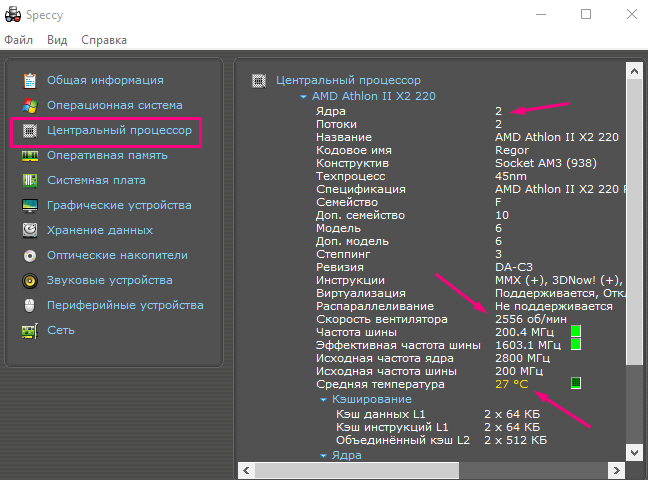 Программа Speccy подробный анализ