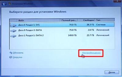 настройка диска перед форматированием