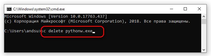 sc delete pythonw exe
