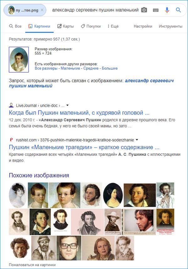 гугл нашел пушкина