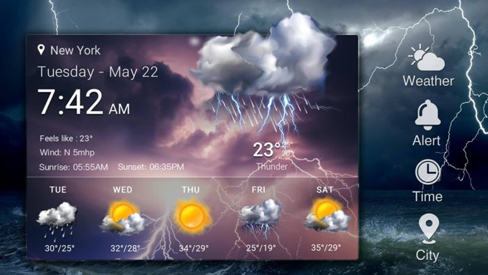 как установить виджет погоды