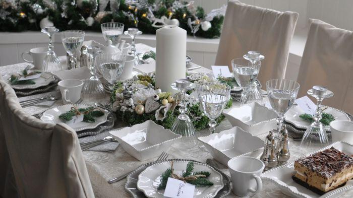 новогодний стол белая скатерть