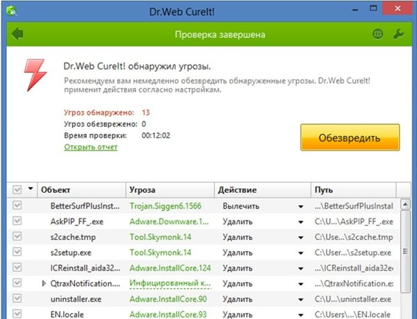 DrWeb Cure It обезвредить