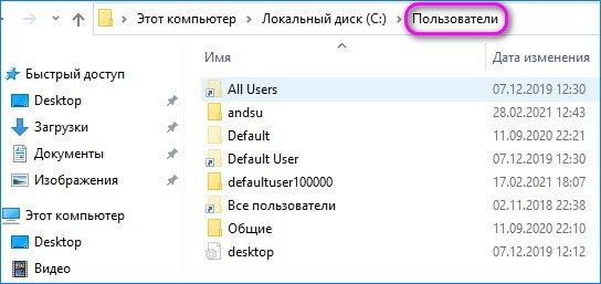 папка пользователи