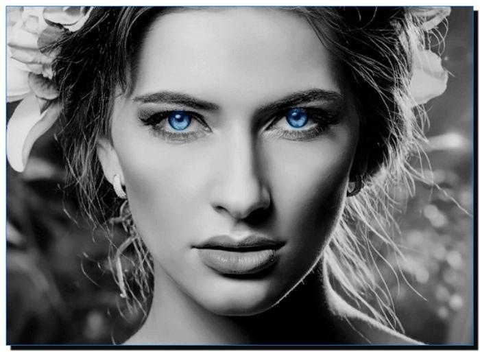 черно белое голубые глаза 1