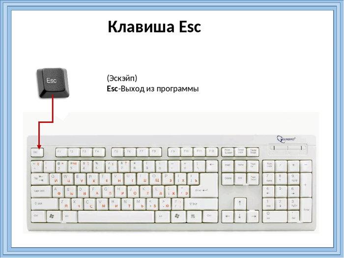 клавиша ESC 1