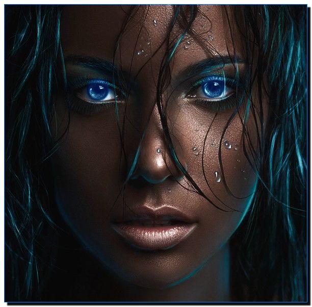 негритянка с голубыми глазами
